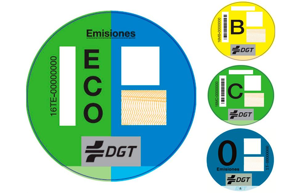 Etiquetas ambientales DGT para vehículos